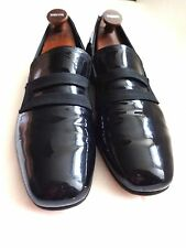 EXCLUSIVE BALLY BLACK  PATENT LEATHER EVENING SHOES SIZE 9D