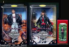 Harley Davidson #1 Ken & #1 Barbie Doll Matching Hallmark Ornament Lot 3