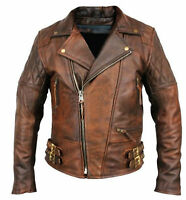 Mens Biker Motorcycle Vintage Distressed Brown Real Leather Jacket