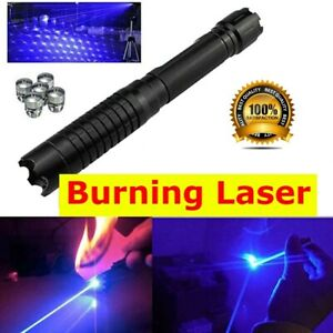 High power Blue laser pointer Rechargeable 450nm powerful sight Burning Match