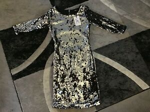 "Bik Bok Ladies Sequin Dress Size S Black & Silver Length 35"" Armpit to Armpit 15"