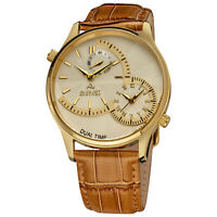 New Men's August Steiner AS8010YG Quartz Dual Time Brown Leather Strap Watch