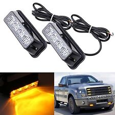 2 x 12/24V Waterproof 4LED Amber Emergency Hazard Warning Strobe Flashing Light