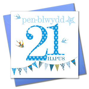 Welsh Birthday Card, Penblwydd Hapus, Blue Age 21, Happy 21st Birthday