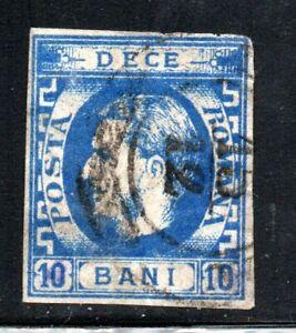 Romania 1868 10b ultramarine Prince Carol  Scott 38a used