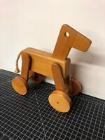 "Vintage Handmade Wooden Horse Toy Pull Toy 1984 11""x11"""