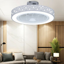Pineapple Bead Ceiling Fan w/Light Enclosed Round Led Semi Flush Dimmable 3-Spee