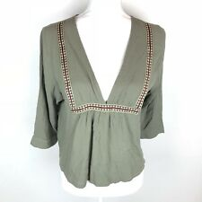 Elodie womens size medium olive green embroidered v neck tunic flowy blouse