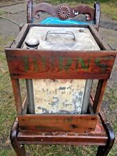 Antique Gargoyle Oil Tin with Wooden crate