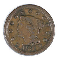1851 Braided Hair Cent Extra Fine
