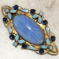 Exceptional Art Deco Glass Star Sapphire Blue Rhinestone Enamel Brooch Pin 1019