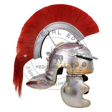 Medieval Roman Centurion Helmet with thick red plume ~ re-enactment role-play