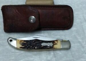 Vtg Schrade + USA 127UH Uncle Henry Folding Knife With Leather Sheath