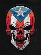 Puerto Rican Death Skull PR Flag of Puerto Rico Motorcycle Biker Patch