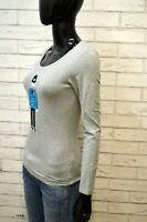 Maglia Grigia Donna FAIRULANO XS Maglietta Shirt Women's Grey Slim Manica Lunga