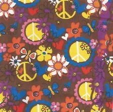 Groovy 60s Retro Peace Signs Flowers Cotton Bandana Scarf Handkerchief 21X21