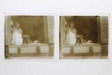 Bretagne Femme Chien France Photo Stereo 10n23 Plaque verre Vintage c1930