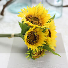 Home Wedding Floral Decor Artificial Fake Sunflower Silk Flower Bouquet