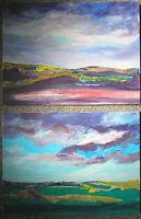 pair of original acrylic paintings on canvas
