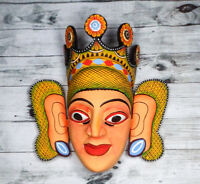 Asian Hand Carved Wood Wall Decor Elegant Vintage Colorful Queen Lady Mask 10""