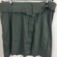 Vince Linen Drawstring Button Up Gray Skirt Pockets Foldover Waist Size Large