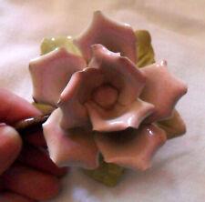 Vintage Rose-Shaped Candle-Holder From France Pale Pink, Green, Metal Porcelain?