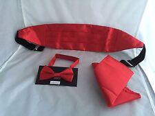<Children Deal> Page Boy- Boys Red Polyester Bow tie + Cummerbund and Hankie Set