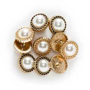 5pcs Pearl Metal Shank Buttons for Sewing Scrapbooking DIY Craft Decoration 17mm