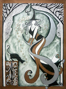 Witch Moon Cat Limited Edition Print By Sarah Jane Holt