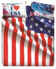 Completo Copripiumino Lenzuola Matrimoniale USA Flag Natura City Bassetti