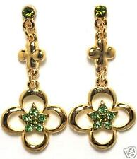 Green Peridor Simulated Swarovski Crystal Star EARRINGS