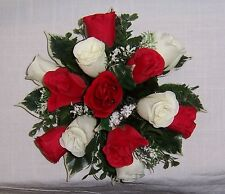 wedding flowers guest table decoration red & ivory roses & gyp