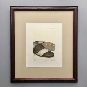 Vintage Hand Colored Etching of Golf Shoes by Gianni Raffaelli