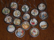 10 Assorted Primitive Beatrix Potter Easter Bunny Metal Rim Hang Tags  Ornies
