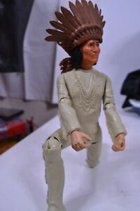 Johnny West Series 1973 Geronimo Action Figure Vintage Marx Toys With Headress