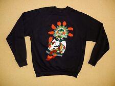 Vtg NATIVE AMERICAN Aztec Tribe CREW NECK SWEATSHIRT Size Adult XL Orange Mask