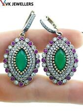 Sterling Silver Emerald Earrings B36 Turkish Ottoman Handmade Jewelry 925