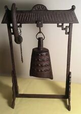 Chinese Oriental Bell Gong on Stand Heavy Cast Iron Desk Top Table With Ringer