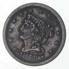 1849 Braided Hair Half Cent - Jefferson Coin Collection *715