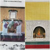 Hand Painted Needlepoint Canvas FIREPLACE MANTLE STOCKINGS with Stitch Guide