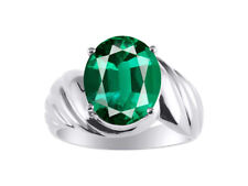 Large Oval Shape Emerald Ring Set In 14K White Gold - Color Stone Birthstone Ri