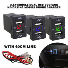 Car Charger Socket Dual USB Port Charging Power Adapter Outlet for Toyota