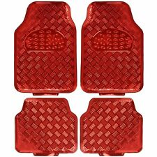 New Chrome Red Metallic Car Truck Front Back All Weather Rubber Floor Mats