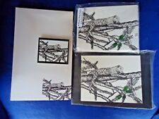 Leopard on a Limb 4 Pc Set - Notepad-6 Blank Notecards, Print and Magnet New