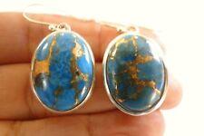Oval Copper Turquoise 925 Sterling Silver Dangle Drop Earrings