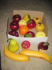 Vintage Lot of Artificial Fake Faux Fruit/Food LOT OF 16 Metal/Tin?