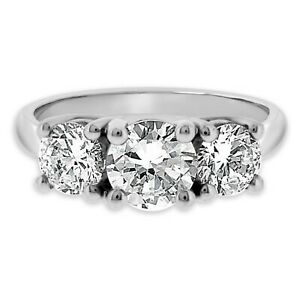 14K White Gold Finish 3-Stone 2Ct Round 7MM Moissanite Solitaire Engagement Ring