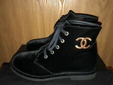 NIB Authentic Chanel Black Velvet Combat Boots Size 40 With Gold CC Logo Tie Up
