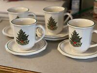Vintage 4 PFALTZGRAFF Heritage Christmas Mugs Coffee Tea Cups And Saucers