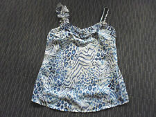 LADIES CUTE BLUE PATTERNED POLYESTER FRILLY SLEEVELESS TOP BY SUNNY GIRL SIZE 10
